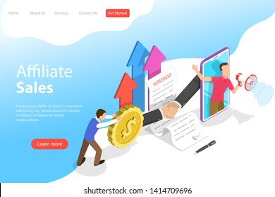 Isometric flat vector landing page template of affiliate sales, marketing strategy, referral program, partnership agreement.