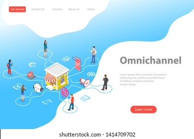Isometric flat vector landing page template of cross channel, omnichannel, several communication channels between seller and customer, digital marketing, online shopping.