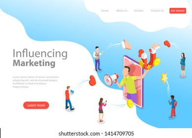 Isometric flat vector landing page template of social media influencer, digital marketing strategy, promotional advertising campaign.