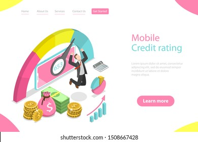 Isometric flat vector landing page template of mobile credit rating app, personal credit score, good index of credit history.