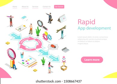 Isometric flat vector landing page template of rapid software application development model, RAD, engineering design approach with steps analysis, demonstrate, build, refine, testing, implementation.