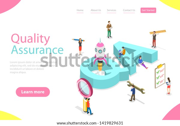 Isometric Flat Vector Landing Page Template Stock Vector