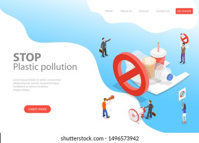 Isometric flat vector laning page template of stop plastic pollution, polythene disposable garbage problem.