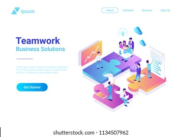 Isometric Flat vector Management Teamwork Business People on Puzzle parts. Finance Concept illustration.