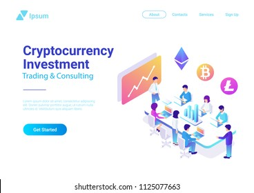 Isometric Flat Vector Team Brainstorming Cryptocurrency Investment illustration. Teamwork Marketing Management Collaboration Concept.