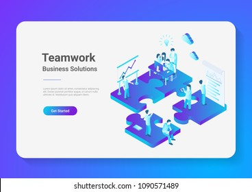 Isometric Flat vector Teamwork Business People on Puzzle parts. Finance Management Concept illustration.
