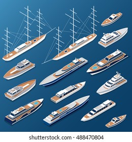 Isometric flat yacht, ship and boat vector illustration set. Marine nautical transport collection.