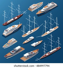 Isometric flat yachts and boats vector illustration set. Marine nautical transport collection.