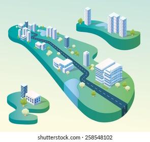 Isometric floating city