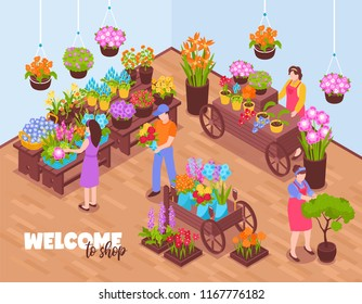 Isometric florist background with view of indoor venue and flover vendors selling bough-pots with text vector illustration