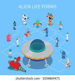Isometric flowchart with various colorful alien life forms on blue background 3d vector illustration