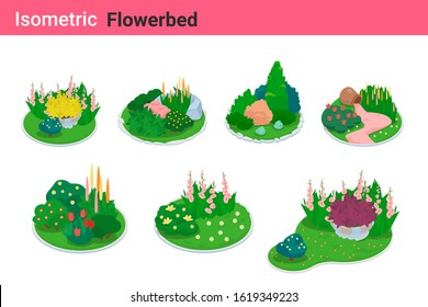 Isometric Flower bed flat vector collection. Garden bed Flowerbed landscape design elements.