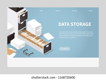 Isometric Folder Archive. Vector illustration with paper, boxes and documents. Landing page concept.