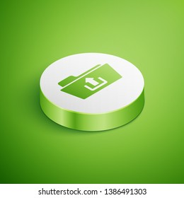 Isometric Folder upload icon isolated on green background. White circle button. Vector Illustration