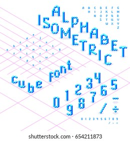 Isometric font, alphabet, abc  from blue cubes. Can be used in different 3d directions. Uppercase and lowercase characters, numbers. Under each symbol is part of an isometric grid. Vector illustration