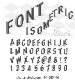Isometric font alphabet with drop shadow on white background. Vector illustration.  Isometric font. Isometric alphabet. Isometric abc.