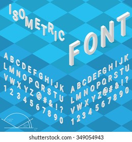 Isometric font alphabet with drop shadow on blue background. Vector illustration.  Isometric font. Isometric alphabet. Isometric abc.