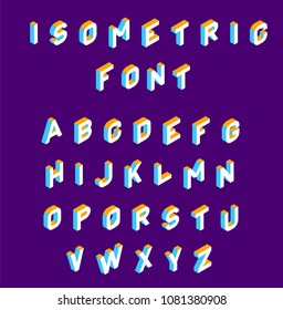 Isometric font .Colored isometric 3d letters , Three-dimensional alphabet. Low poly 3d characters. Vector illustration.