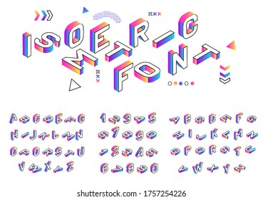 Isometric font. Creative colored geometric alphabet. 3d gradient letters numbers sign vector set