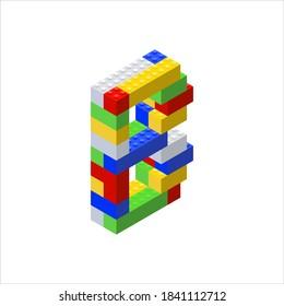 Isometric font made from color plastic blocks. The children's designer. Letter B. Vector illustration