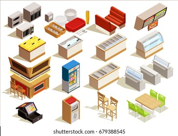 Isometric food court interior elements set with furniture kitchen equipment dishes refrigerated counters seats and tables vector illustration