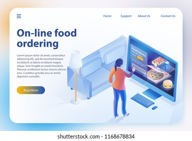 Isometric Food Ordering. Online Ordering and Fast Food Delivery. Online Order Meal in Cafe. Girl looks Menu on Website. Vector Isometric Illustration for Online Food Ordering. Landing Page Banner.