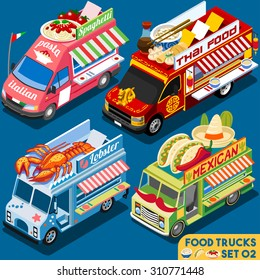 Isometric Food Truck icon set Collection. Food Delivery Master isometric Mexican dish. Chinese food menu cuisine Chef Flat 3d Vector icon Van Truck Set Street Delivery isolated truck icon Illustration