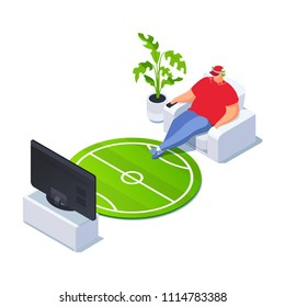 Isometric football fan watching TV. 3d living room. Vector illustration.