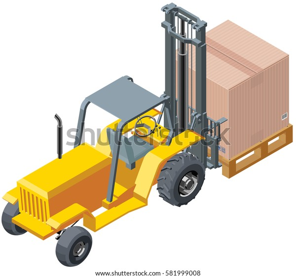 Isometric Forklift Carrying Box With Palette.