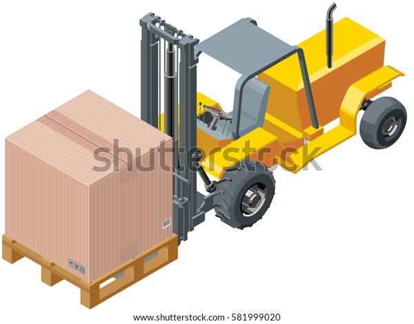 Isometric Forklift Carrying Box With Palette
