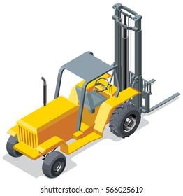 Isometric forklift truck illustration.