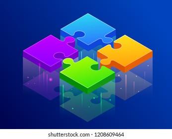 Isometric four color piece jigsaw puzzle together. Partners connect, puzzle piece, partner building concept. Vector illustration.