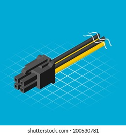 Isometric Four Pin Connector Vector Illustration
