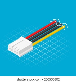 Isometric Four Pin Floppy Connector Vector Illustration