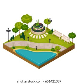 Isometric fragment of park landscape constructor with pond flowerbed benches streetlights and trees vector illustration