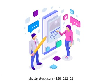 Isometric freelancing, creative blogging, commercial blog posting, copywriting, content marketing strategy. People are standing near smartphone, using a smartphone, reading news, texting message.