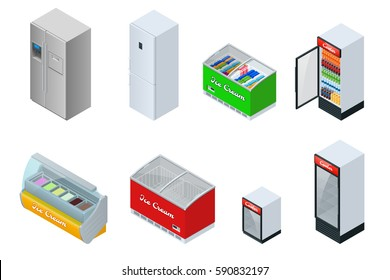 Isometric Fridge Drink with glass door. Freezer and refrigerator. Vector isolated on white background.