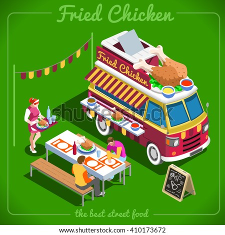 Isometric Fried Chicken Wings Food Truck Stock Vector Royalty Free