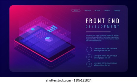 Isometric front end development landing page concept. Dedicated team. Front end application interface and coding development illustration on ultraviolet background. Vector 3d isometric illustration