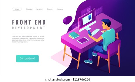 Isometric front end development landing page concept. Front end developer of website and app interfaces, coding and programmer illustration on white background. Vector 3d isometric illustration.