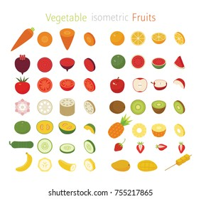 isometric fruits and vegetable slice section vector illustration flat design