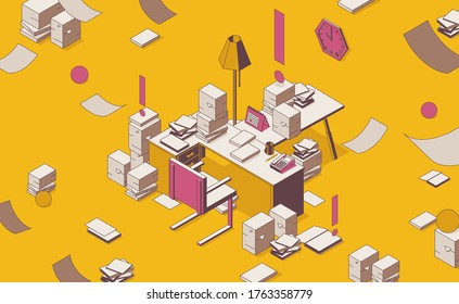 Isometric full color outline mess on the table, documents lying around. Concept scene about deadline and paper work
