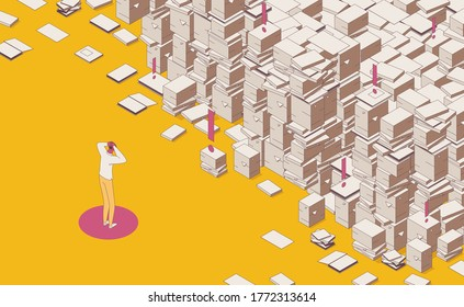 Isometric full color outline mess paper work, documents and important files drawn, man holds his head. Yellow and pink colors. Concept scene about deadline and lots of paper work.