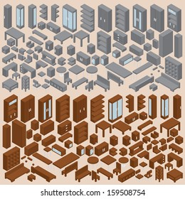 Isometric Furniture Collection. Set of Various 3D Vector Tables, Bookshelfs, Chairs, Cabinets, Commodes...etc