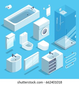 Isometric furniture elements set of bathroom interior. Vector illustrations