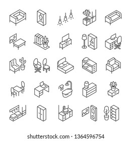 Isometric furniture and interior icons set. Line style