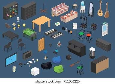 Isometric Furniture Vector Elements and Objects Icon Set.