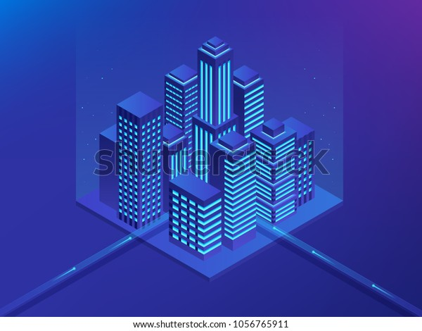 Isometric Future City. Real estate and construction industry concept. Virtual reality. Vector illustration.