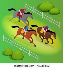 Isometric galloping race horses in racing competition competing with each other. Vector illustration. Equestrian sport