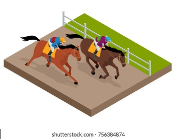 Isometric galloping race horses in racing competition competing with each other. Vector illustration. Equestrian sport. Harness racing at the Hippodrome.